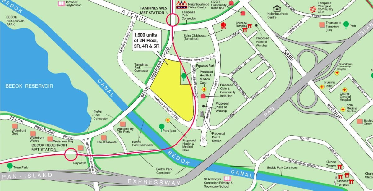 August 2021 Tampines BTO map (along Tampines Street 95)
