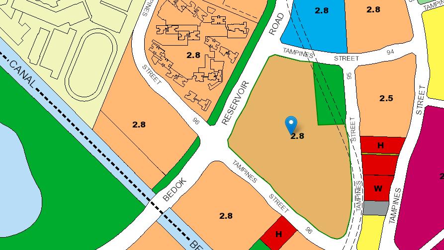 URA master plan of the Tampines BTO