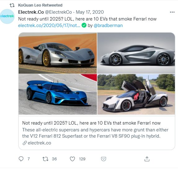 EV Ferrari twitter post by Leo KoGuan