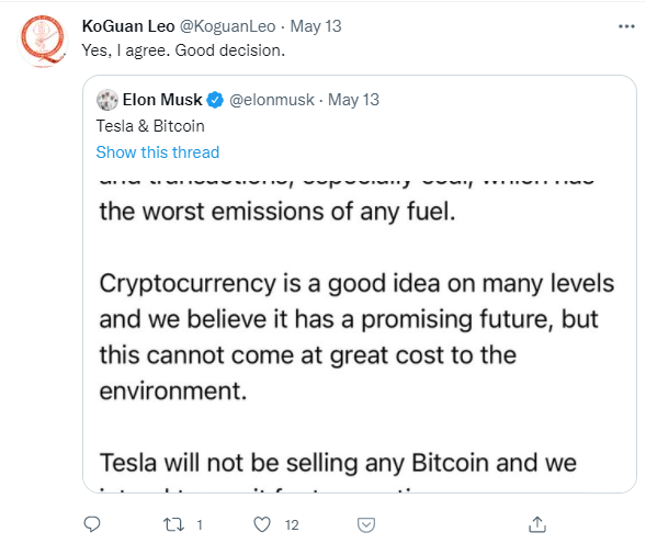 Elon Musk Bitcoin mining Tesla twitter post by Leo KoGuan