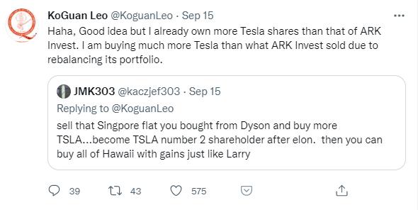 Sell penthouse Tesla twitter post by Leo KoGuan
