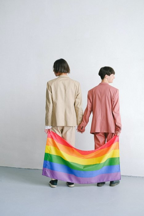 Suits older gay LGBTQ couple holding pride flag