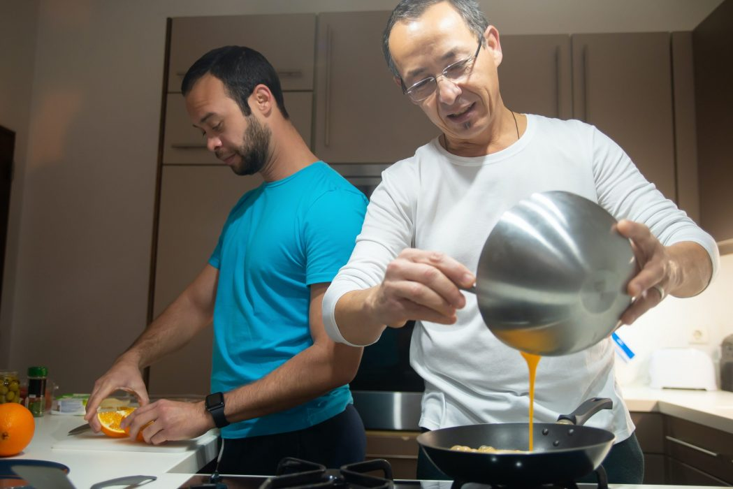 LGBTQ couple in the kitchen